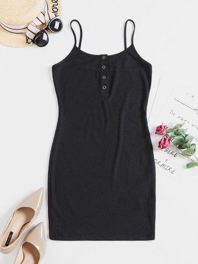 ZAFUL Solid Color Bodycon Cami Dress - Black M