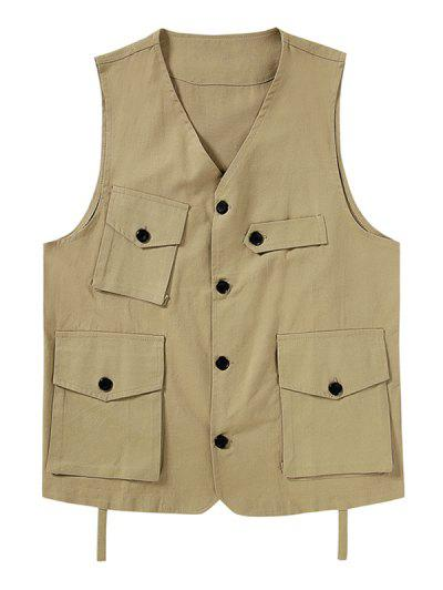 Plain Button Up Multi Pockets Fisher Vest - Light Khaki 2xl