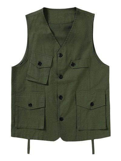Plain Button Up Multi Pockets Fisher Vest - Army Green S