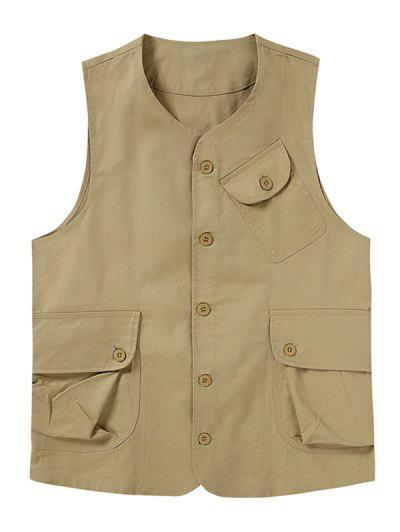 Plain Button Up Flap Pockets Outdoor Vest - Light Khaki Xl