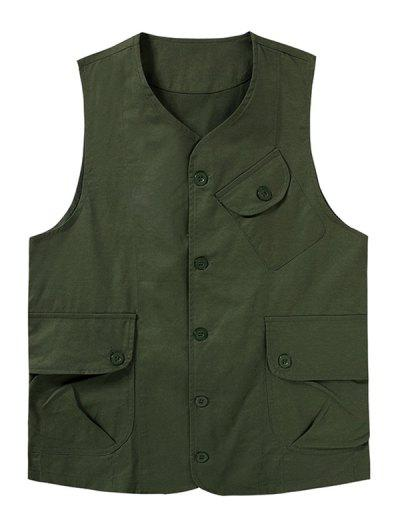 Plain Button Up Flap Pockets Outdoor Vest - Army Green M