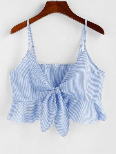 ZAFUL Stripe Tie Front Flounce Crop Top - Blue S