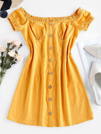 ZAFUL Ruffle Puff Sleeve Mini Dress - Yellow Xl