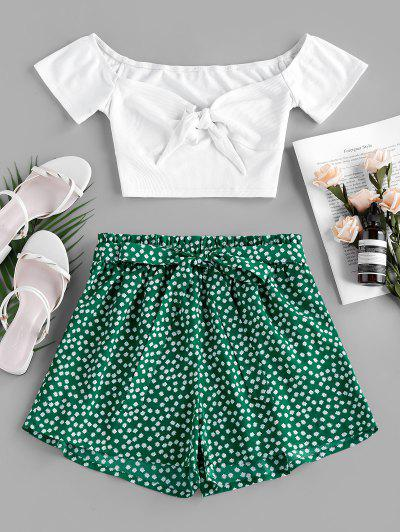 ZAFUL Ribbed Printed Two Piece Set - Green M