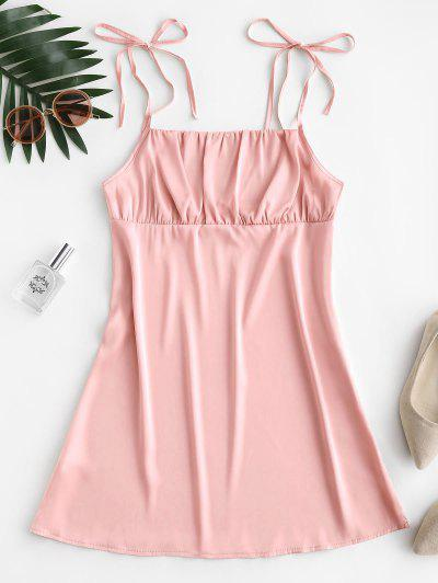 Silky Ruched Front Tie Shoulder Mini Dress - Pink S