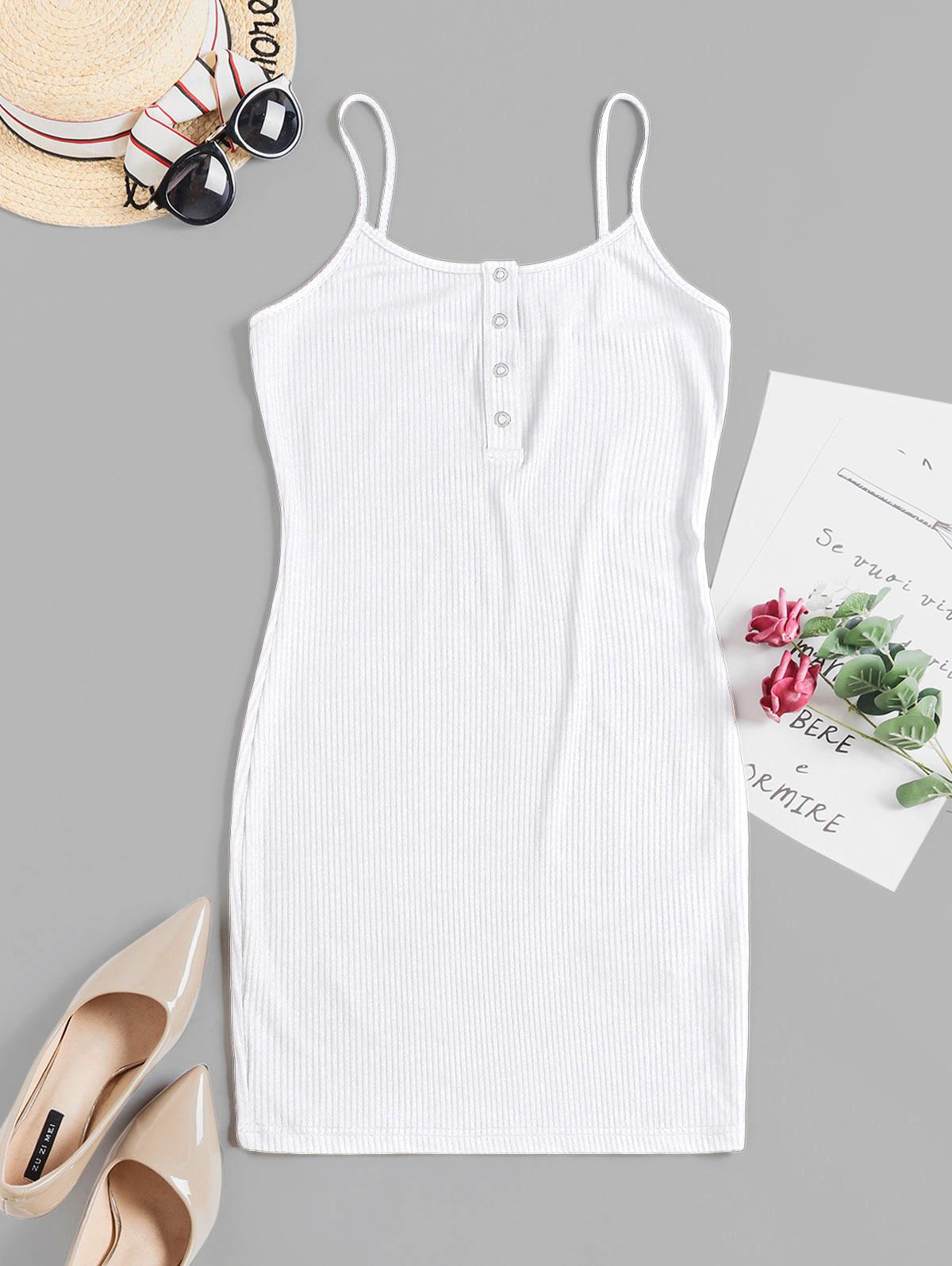 ZAFUL Solid Color Bodycon Cami Dress