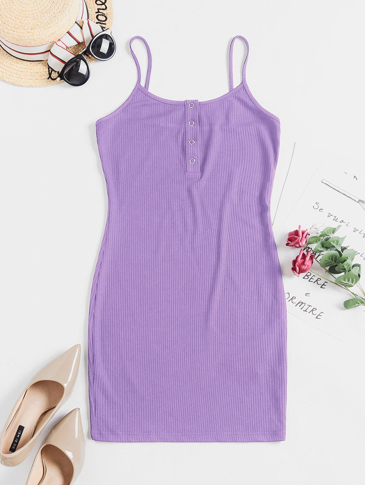ZAFUL Solid Color Bodycon Cami Dress