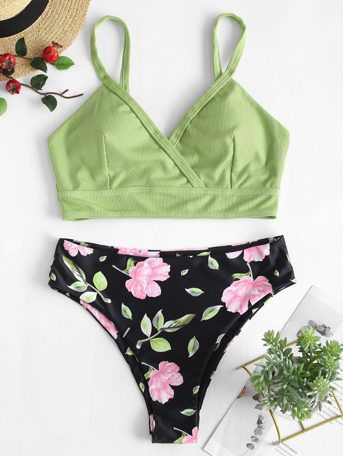 ZAFUL Ribbed Flower Surplice Tankini Swimwear