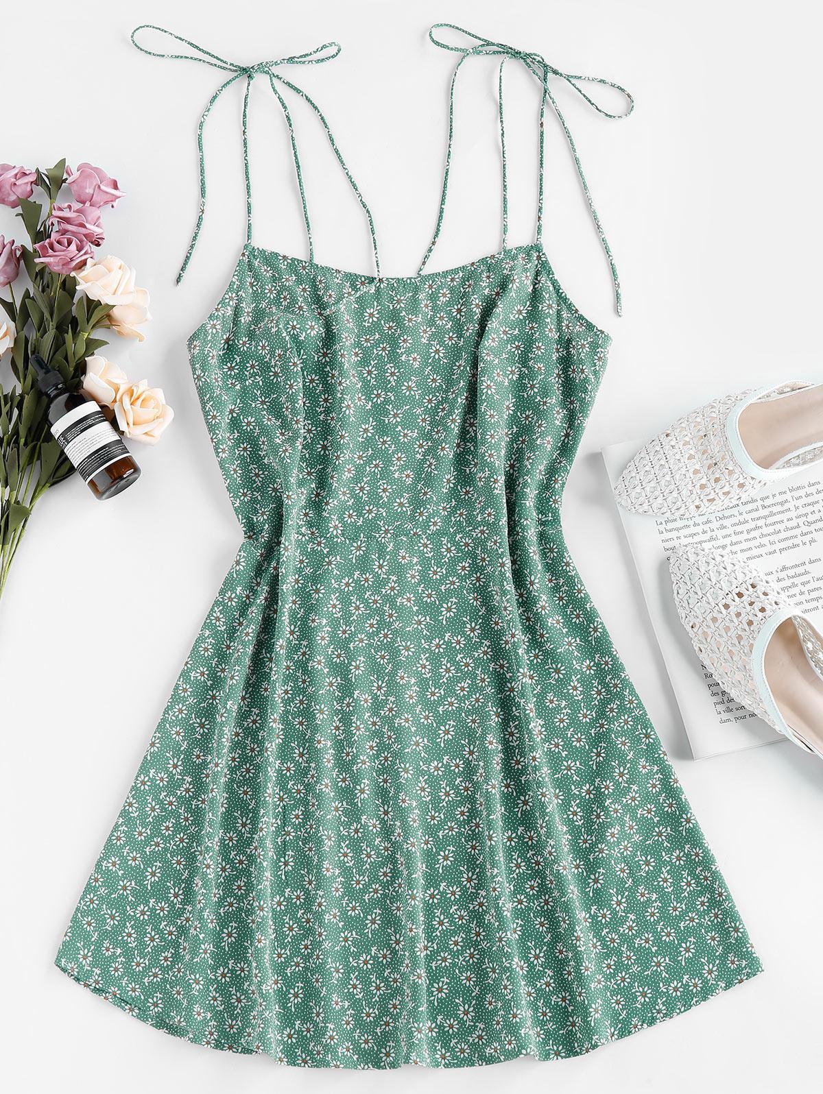 ZAFUL Tie Shoulder Ditsy Print Mini Dress