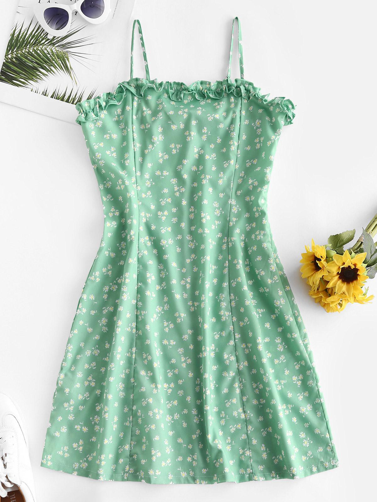 Lettuce Trim Ditsy Floral Cami Dress