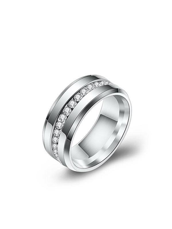 Brief Rhinestones Stainless Steel Ring