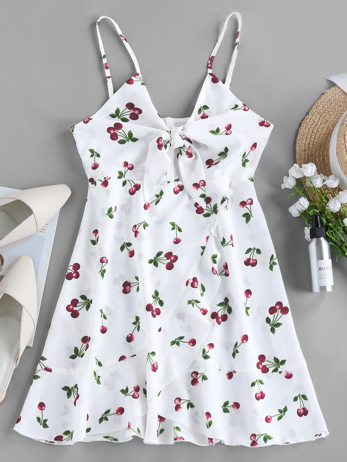ZAFUL Cherry Print Knotted Flounce Cami Dress
