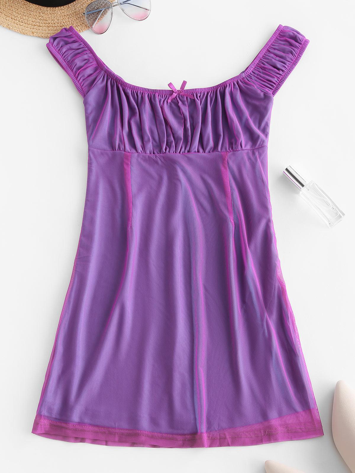 Low Cut Bowknot Mesh Mini Dress