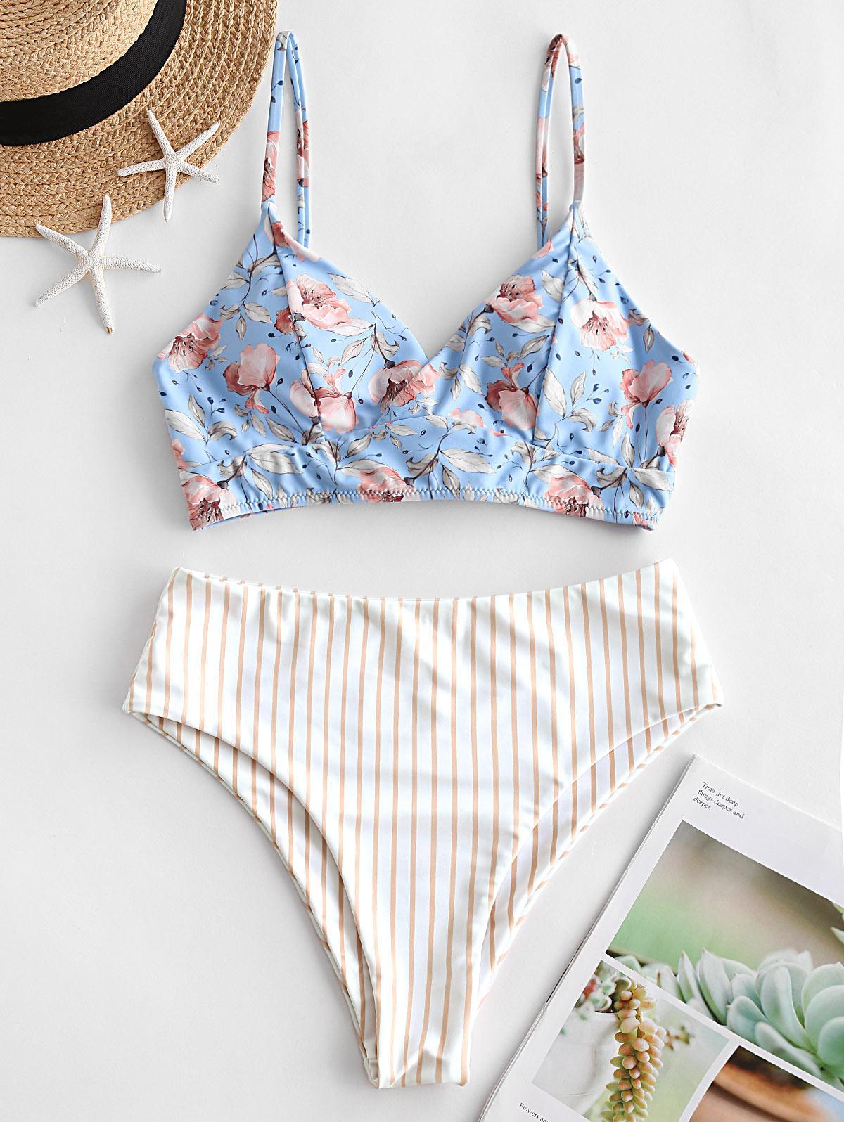 zaful Striped Floral Print Tankini Swimsuit