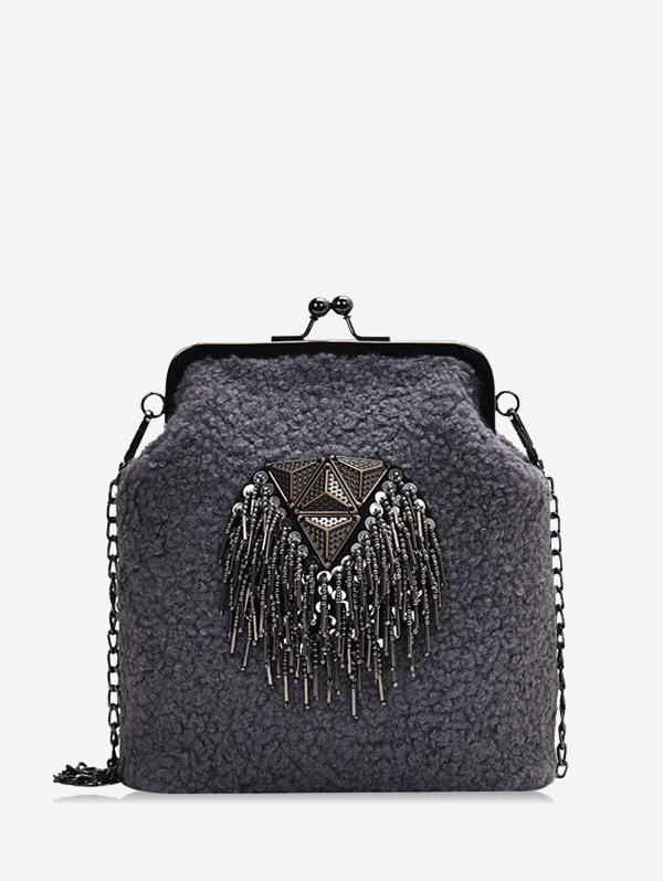 Fleece Geometric Fringe Crossbody Bag