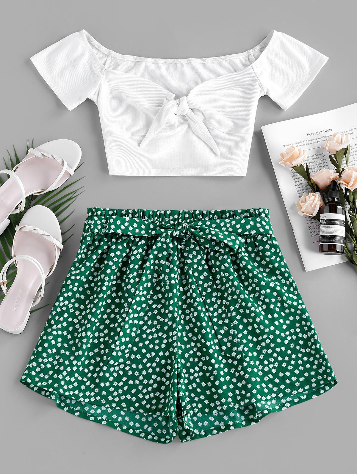 ZAFUL Ribbed Printed Two Piece Set
