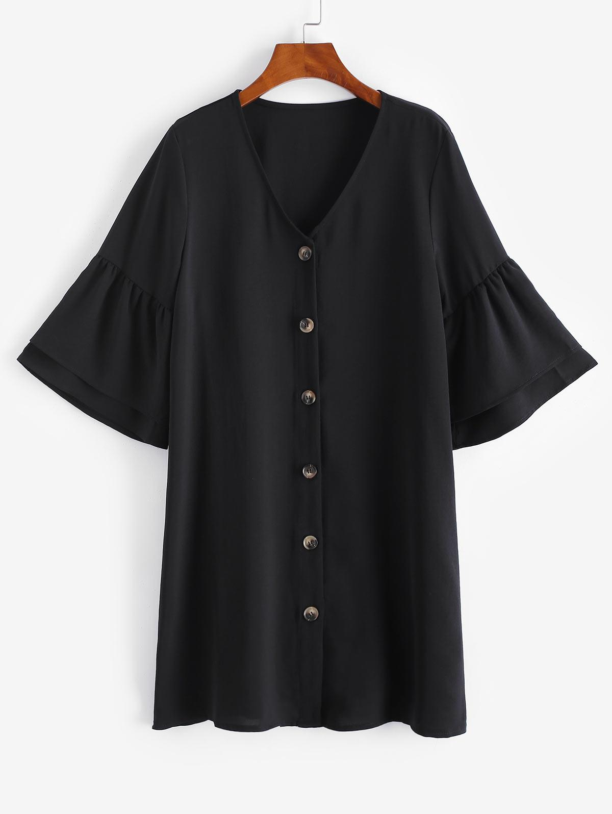 Button Up Flare Sleeve Shift Dress