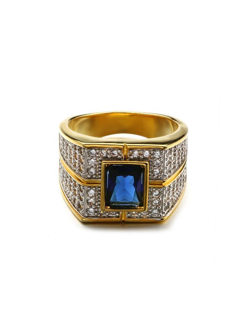 Square Inlaid Zircon Wide Ring