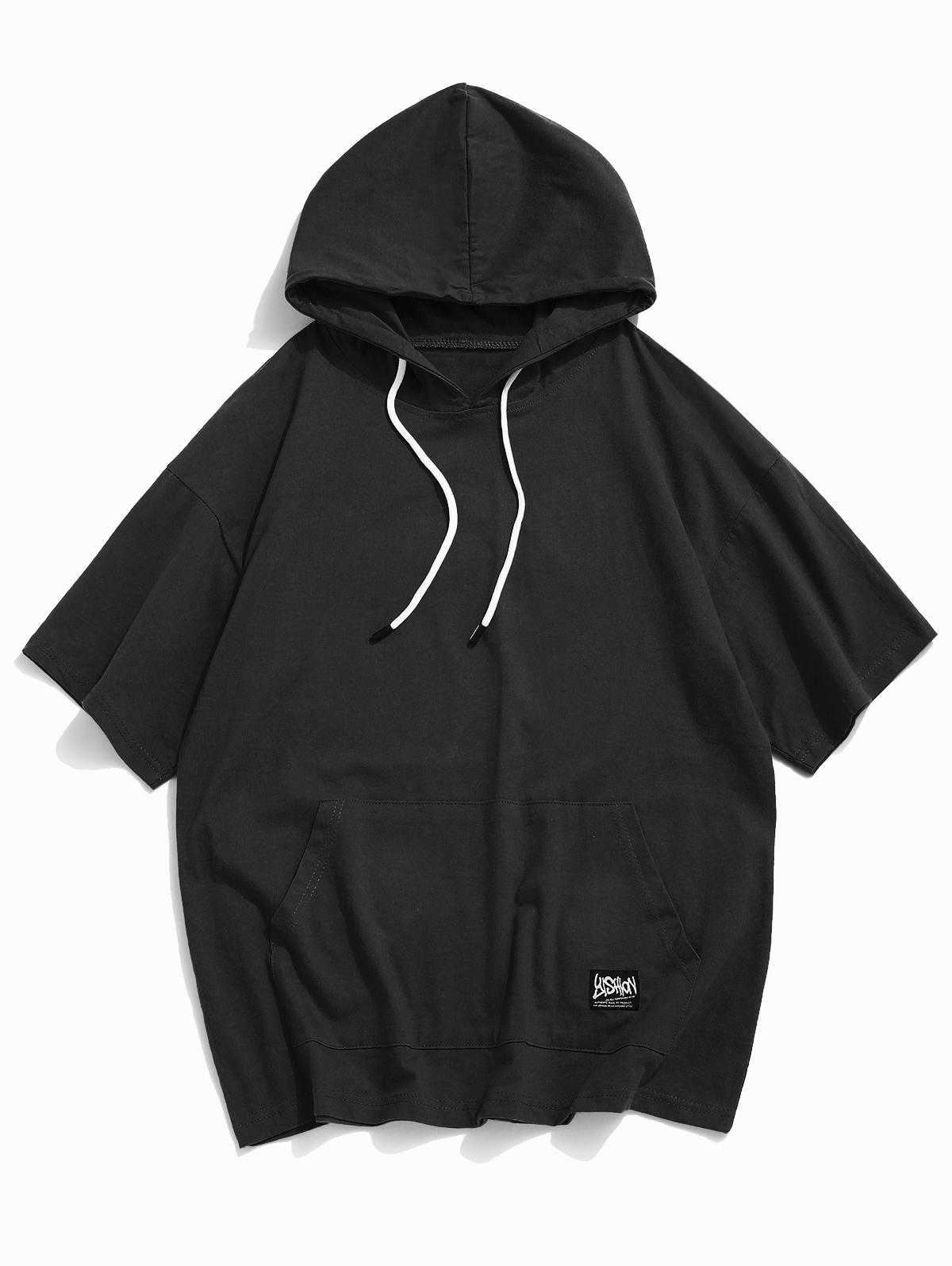 Short Sleeve Solid Pouch Pocket Hoodie T-shirt thumbnail