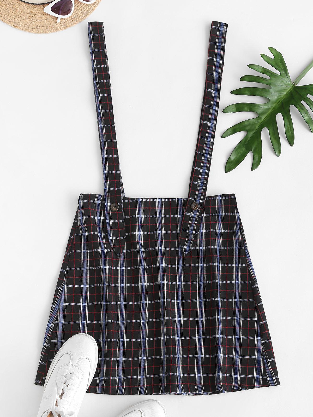 Plaid Suspender Mini Skirt