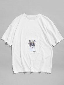 55 Off 2020 Cartoon Dog Print Pocket Patch T Shirt In White