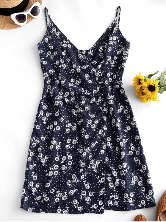 new Floral Print Dotted Buttoned Cami Dress - DEEP BLUE L