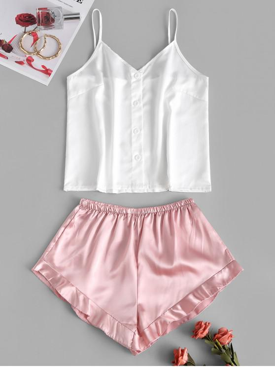 affordable Button Up Colorblock Ruffle Pajama Shorts Set - WHITE S
