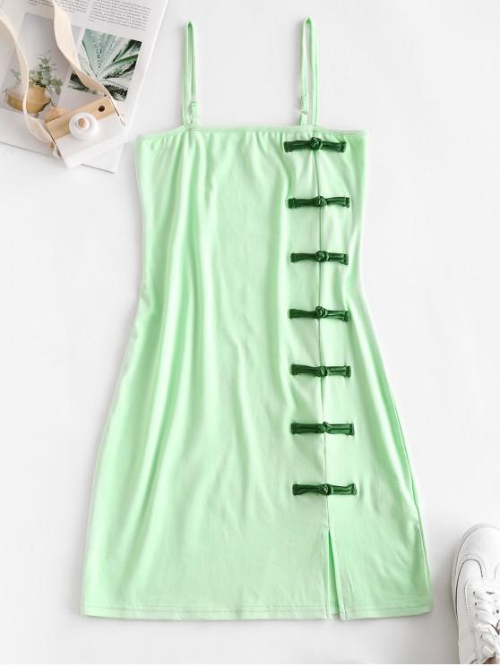 trendy Oriental Frog Button Sheath Dress - GREEN M