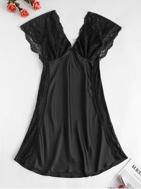 Lace Insert Cap Sleeve Mini Dress Pijama - Negru L