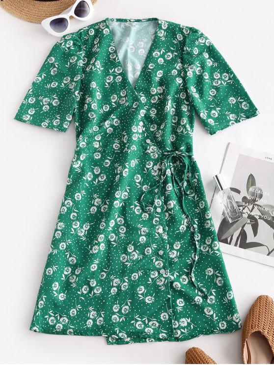 online Floral Print Dotted Tied Flare Dress - GREEN L