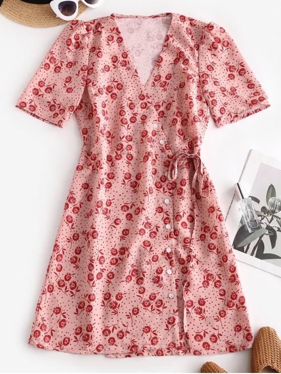 Floral Print Dotted Tied Flare Dress - Roz L