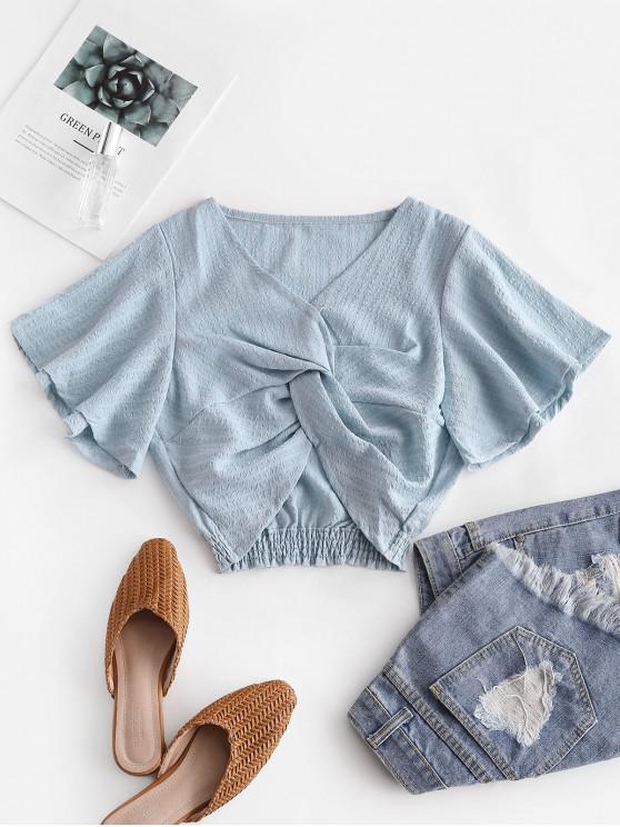 shops Seersucker Twist Butterfly Sleeve Blouse - LIGHT BLUE S