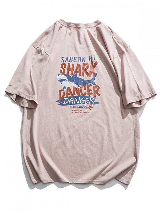best Shark Dancer Graphic Basic T Shirt - PINK L