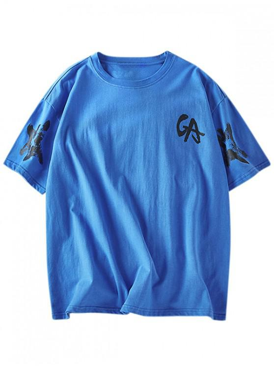 lady Letter Graphic Basic T-shirt - BLUE 2XL