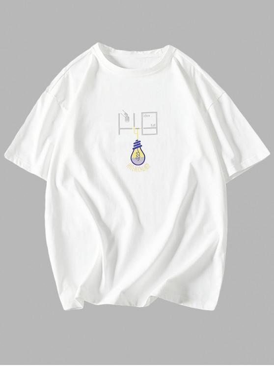 T-shirt Ampoule Imprimée à Manches Courtes - Blanc 2XL