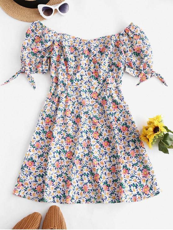 unique Floral Tie Puff Sleeve Milkmaid Dress - MULTI S