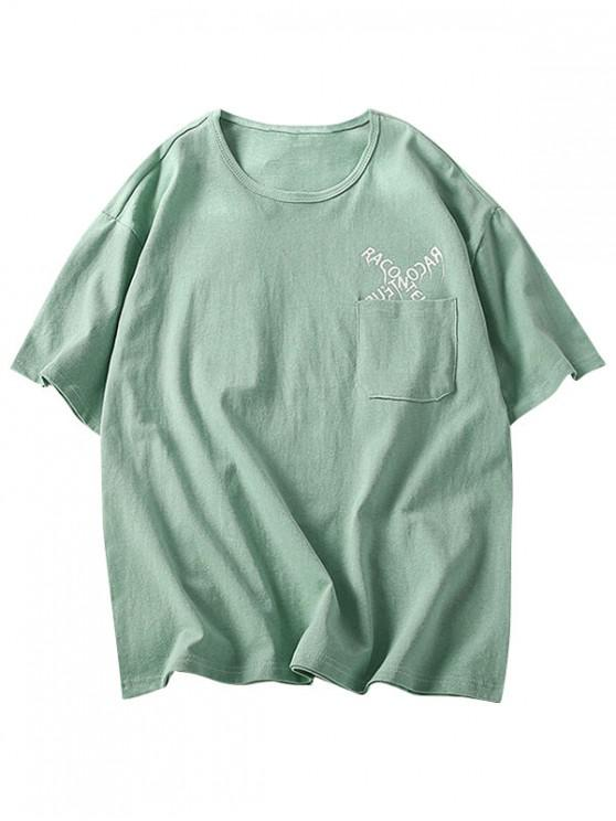 women Letters Pattern Tee with One Pocket - GREEN 3XL