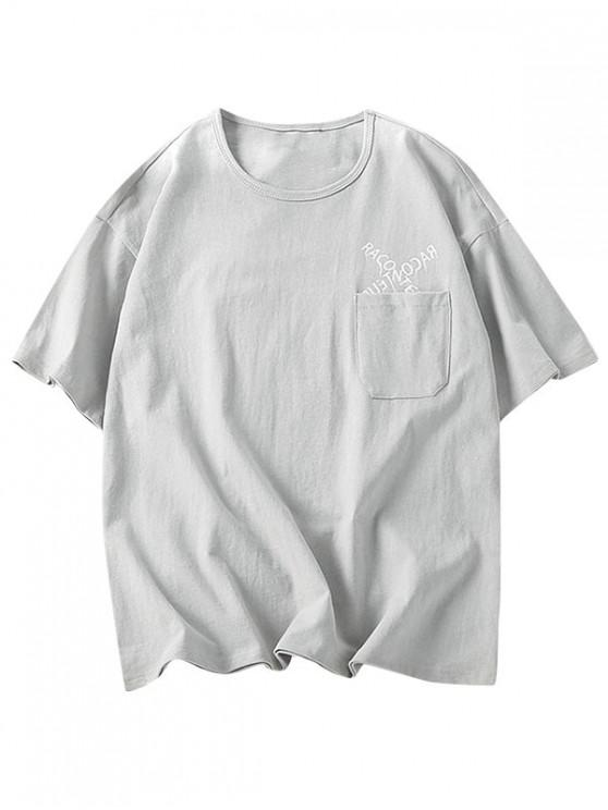 Letters Pattern Tee with One Pocket - اللون الرمادي 2XL