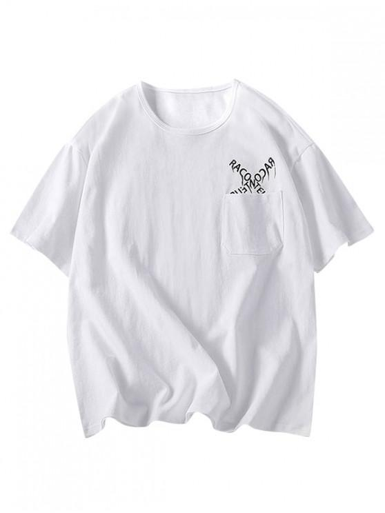 shop Letters Pattern Tee with One Pocket - WHITE 3XL