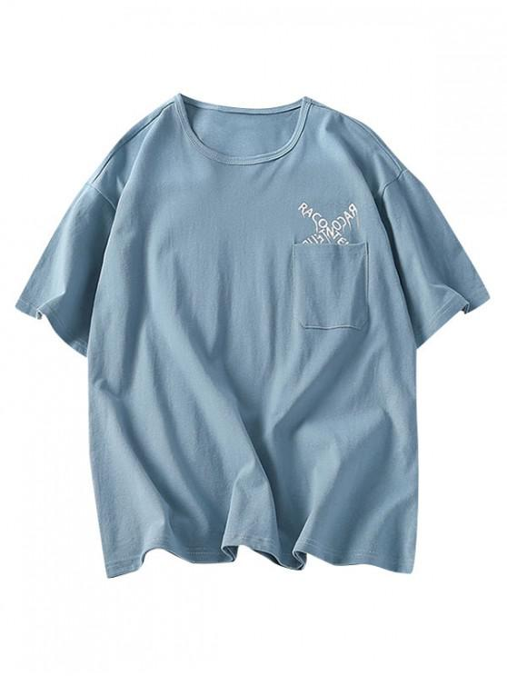 buy Letters Pattern Tee with One Pocket - LIGHT BLUE 3XL