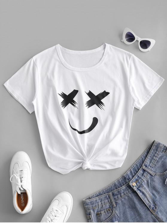 T-shirt de Manga Curta com Cara do Círculo de Rosto - Branco XL
