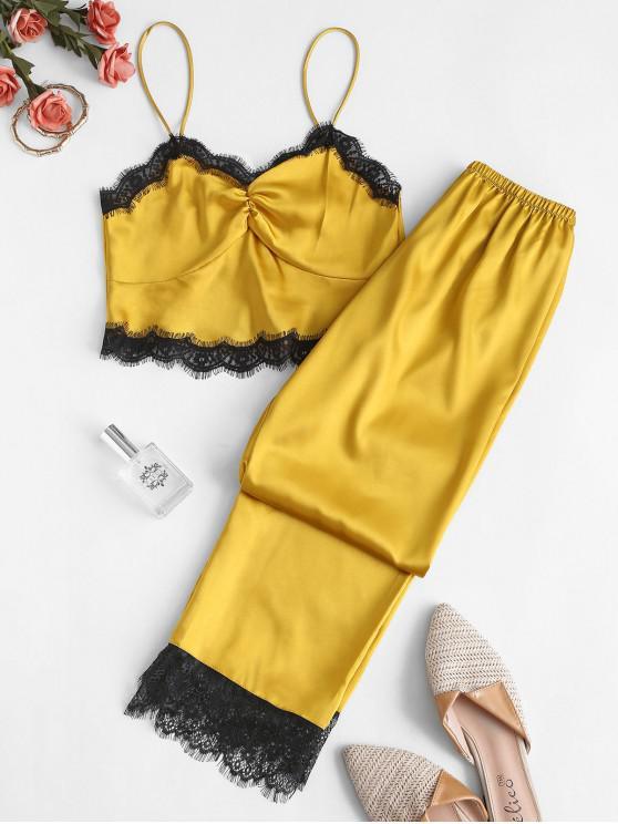 Conjunto de Pijama de Seda de Inserção de Renda - Amarelo Brilhante XL