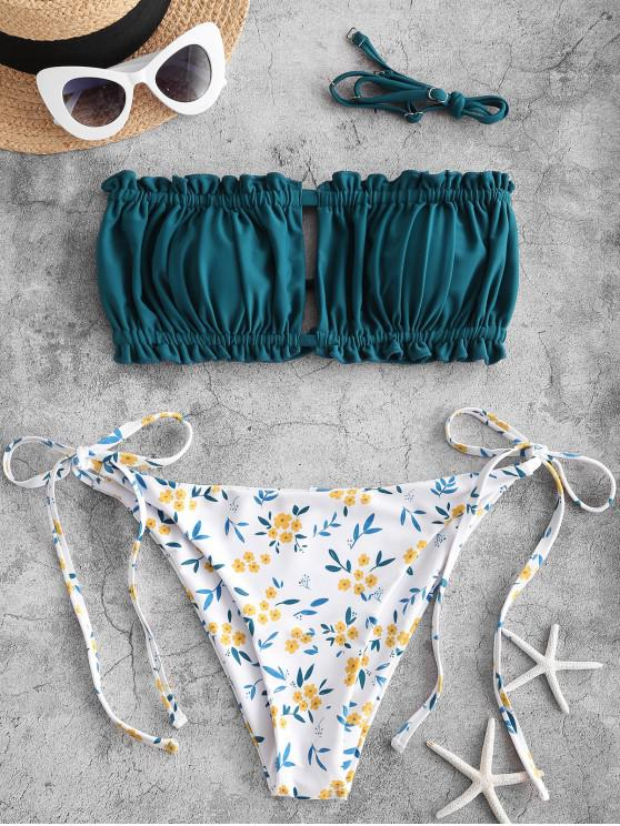 latest ZAFUL Flower Tie Ruched Cross Tube Bikini Swimsuit - GREENISH BLUE L