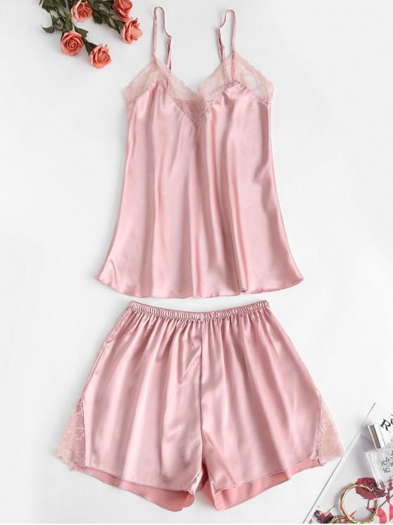 shops Lace Insert Cami Pajama Shorts Set - PINK S