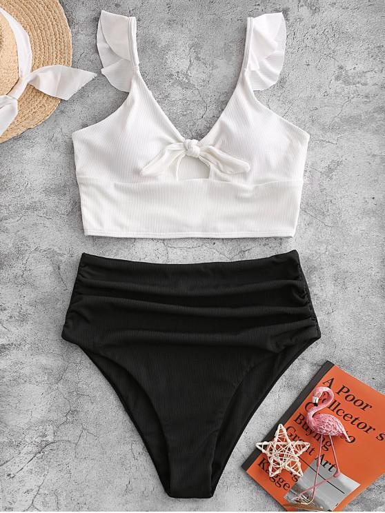ZAFUL Ribbed Knot Ruched Tankini Swimwear - أسود M