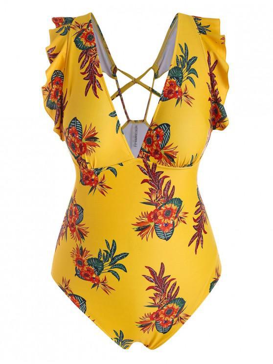 shop ZAFUL Plus Size Floral Leaf Ruffle One-piece Swimsuit - MULTI-A 3X