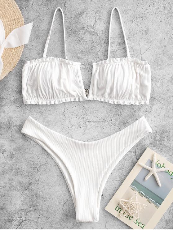 ZAFUL Maillot de Bain Bikini Côtelé à Jambe Haute Armature en V - Blanc M