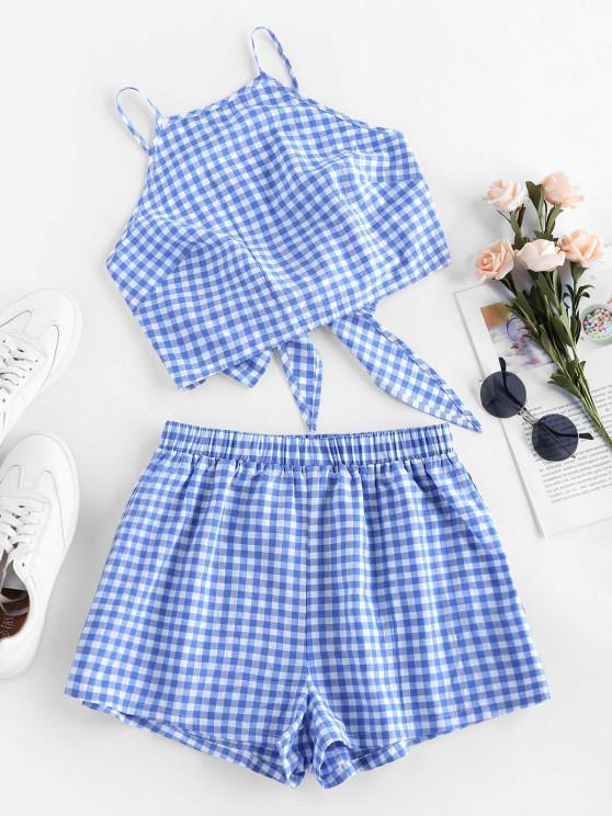 shops ZAFUL Gingham Bowknot High Waisted Shorts Set - DAY SKY BLUE L