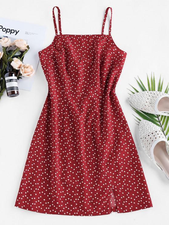 hot ZAFUL Heart Print Slit Cutout Mini Dress - RED WINE M