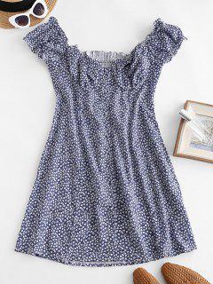 Tiny Floral Smocked Back Buttoned Dress - Deep Blue M